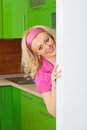 Young housewife on kitchen near the fridge Stock Image