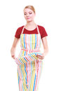 Young housewife with oven cooking mitten kitchen apron isolated wearing studio picture on white Royalty Free Stock Photos