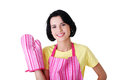 Young housewife in pink apron ang glove Royalty Free Stock Image