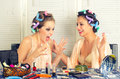 Young housewife telling funny story beautiful to her friend Royalty Free Stock Image