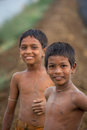 Young Indian boys in field
