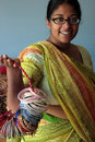 Young Indian Woman in a Sari with Bangles