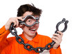 Young inmate with chains isolated on the white Royalty Free Stock Images