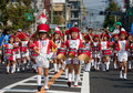 Young Japanese boy leads a  marching band. Royalty Free Stock Photography