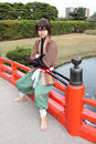 Young japanese cosplayer, samurai Stock Photo