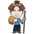 Young japanese samurai blue suit smiling carrying sword backpack classic japanese classic royal noble hair style cartoon comic Royalty Free Stock Images