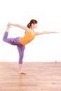 Young Japanese Woman Doing YOGA lord of the dance pose Royalty Free Stock Photo