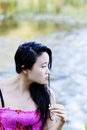 Young Japanese Woman Portrait At River Royalty Free Stock Photo