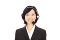 Young japanese woman smiling operator Royalty Free Stock Photo