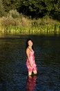 Young Japanese Woman Standing In River Smiling Wet Dress Royalty Free Stock Photo