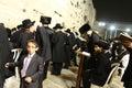 Young Jewish Boy amongst Praying Men at Wailing Wall, Jerusalem Old City, Israel Royalty Free Stock Photo