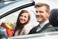 Young Just Married Couple In Car Royalty Free Stock Photo