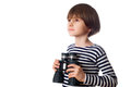 Young kid with binocular Royalty Free Stock Photo