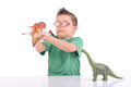 Young kid playing with dinosaurs Royalty Free Stock Photos