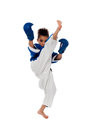 Young kid practicing karate active little girl upper kick Stock Photography