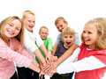 Young kids demonstrating togethernes Royalty Free Stock Images
