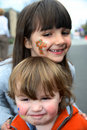 Young kids with face paint Royalty Free Stock Photo