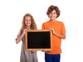Young kids with small blackboard Stock Photos