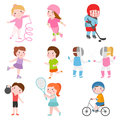 Young kids sportsmens future roller skates gymnastics isolated on white and children young winners after sport school