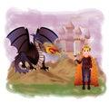 Young king and magic dragon Royalty Free Stock Photo