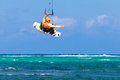 Young kitesurfer on sea background Extreme Sport Kitesurfing Royalty Free Stock Photo