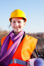 Young lady architect staying outdoors Royalty Free Stock Photo