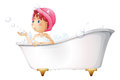 A young lady at the bathtub illustration of on white background Stock Images