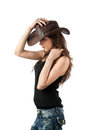 Young lady in a cowboy hat Stock Photography