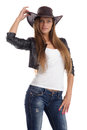 Young lady in a cowboy hat isolated on white background Royalty Free Stock Images