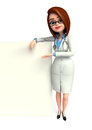 Young lady doctor with sign d rendered illustration of Royalty Free Stock Photography