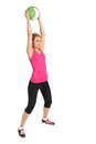Young lady doing medicine ball workout fitness series blond Stock Image