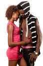 Young lady embracing boyfriend african american Royalty Free Stock Photos