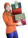 Young Lady With Four Gifts (Christmas / Birthday) Stock Photos