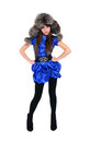 Young lady in fur hat standing hands put on hips blue dress Stock Image