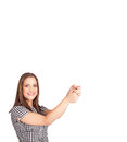 Young lady gesturing with copy space beautiful Stock Images