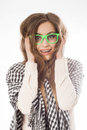 Young lady in glasses on white background Stock Image
