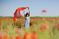 Young lady having fun poppy field Royalty Free Stock Photo