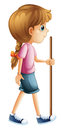 A young lady hiking with a stick illustration of on white background Royalty Free Stock Images