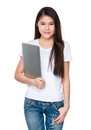 Young lady hold with laptop computer Royalty Free Stock Photo