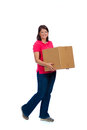 Young lady holding a moving box carrying on white background Stock Photo
