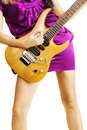 Young lady playing an electric guitar Stock Photos