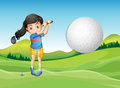 A young lady playing golf Royalty Free Stock Photo