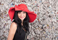 Young lady in red hat Stock Image