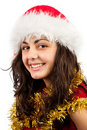 Young lady with Santa Claus hat Royalty Free Stock Image