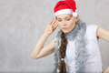 Young lady in Santas hat Royalty Free Stock Photo