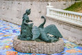 Young lady and swan sculpture in moscow russia Royalty Free Stock Photos