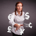 Young lady throwing currency icons pretty Royalty Free Stock Photography