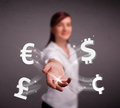 Young lady throwing currency icons pretty Stock Photography