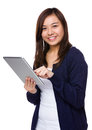 Young lady use of tablet pc isolated on white background Royalty Free Stock Photography