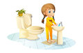 A young lady washing her hands illustration of on white background Stock Photography